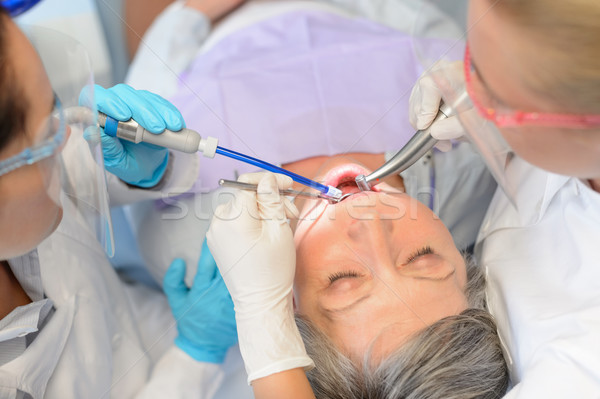 Dental check senior patient professional dentist Stock photo © CandyboxPhoto