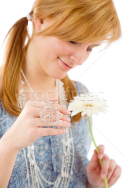 Romantic young woman gerbera daisy piece symbol Stock photo © CandyboxPhoto