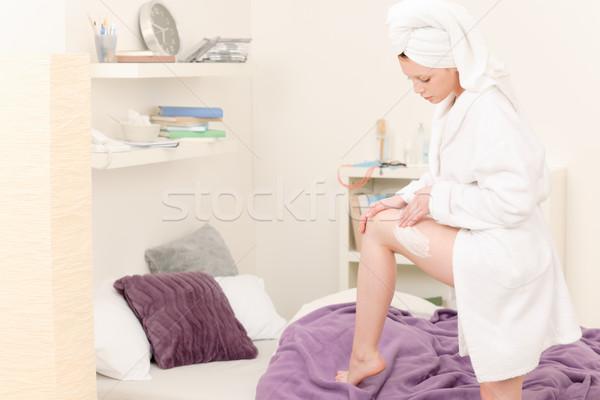Fiatal diák lány test krém testápoló Stock fotó © CandyboxPhoto