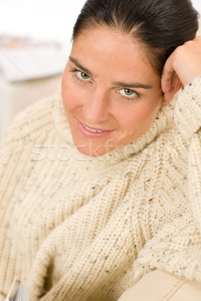 Winter portrait of happy woman wear pullover Stock photo © CandyboxPhoto