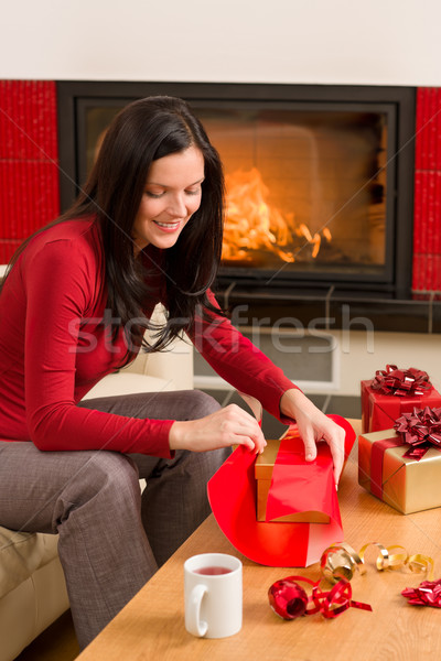 Foto stock: Navidad · presente · feliz · mujer · casa