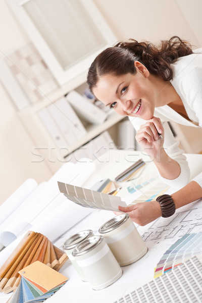 Young female interior designer at office with paint  Stock photo © CandyboxPhoto