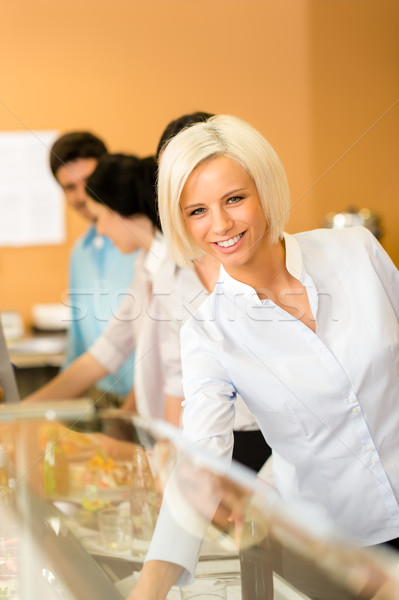 Femme d'affaires cafétéria déjeuner souriant Photo stock © CandyboxPhoto