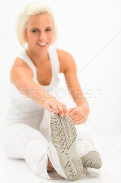 Woman stretch leg white fitness exercise Stock photo © CandyboxPhoto