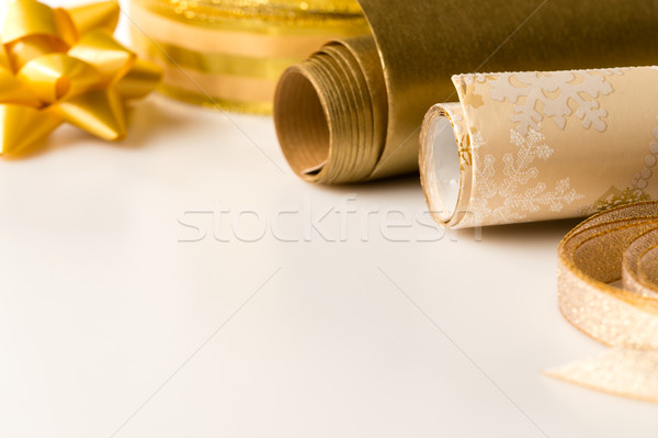 Gold wrapping paper and bow Christmas decoration Stock photo © CandyboxPhoto