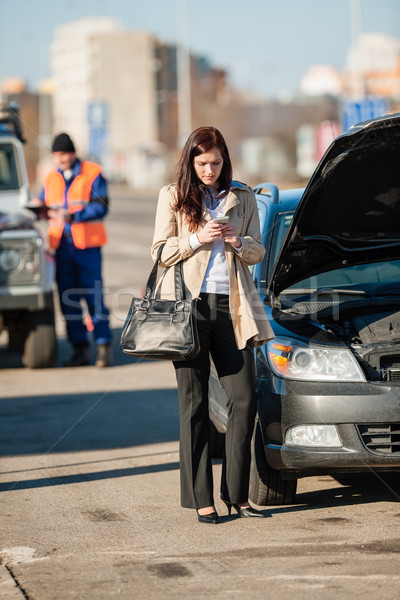 Woman on the phone after car crash Stock photo © CandyboxPhoto