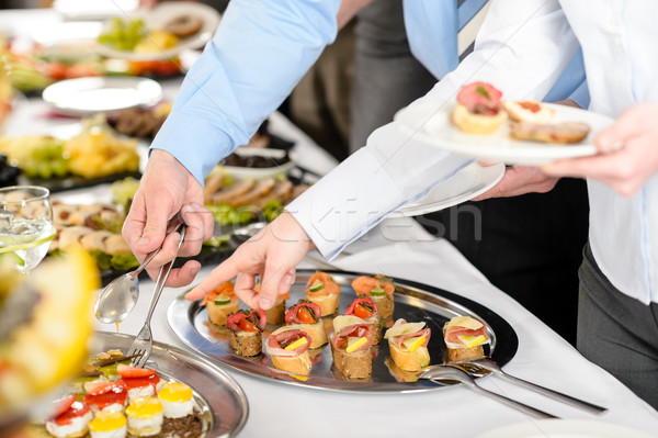 Snacks buffet business bedrijf vergadering catering Stockfoto © CandyboxPhoto