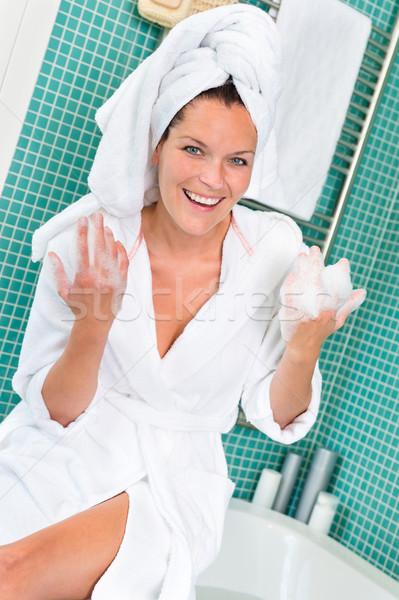 Happy woman enjoying spa treatment hotel bathroom  Stock photo © CandyboxPhoto