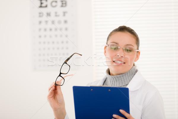 Stockfoto: Opticien · arts · vrouw · bril · oog · grafiek