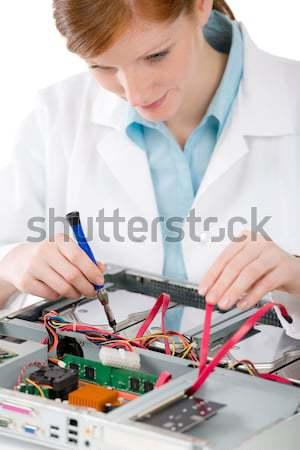 Stok fotoğraf: Kadın · destek · bilgisayar · mühendis · kadın · tamir
