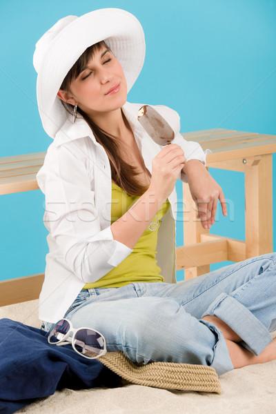 Nyár nő tinédzser jég csokoládé ül Stock fotó © CandyboxPhoto