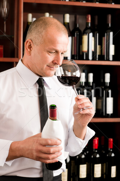 Bar waiter smell glass red wine restaurant Stock photo © CandyboxPhoto