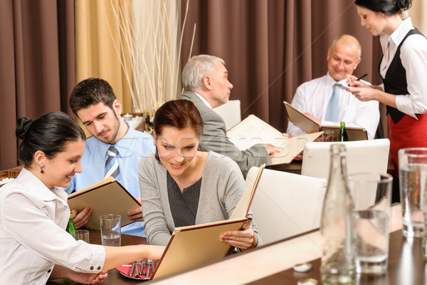 Business lunch executives looking menu restaurant Stock photo © CandyboxPhoto