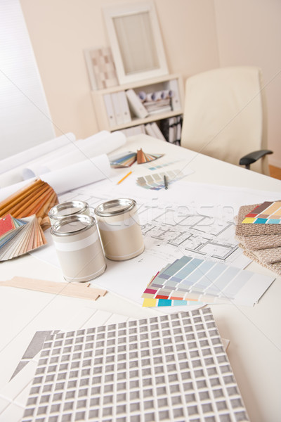 Office of interior designer with paint and color swatch Stock photo © CandyboxPhoto