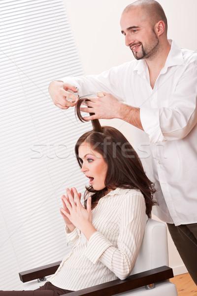 Foto stock: Profesional · peluquero · corte · tijeras · salón · masculina