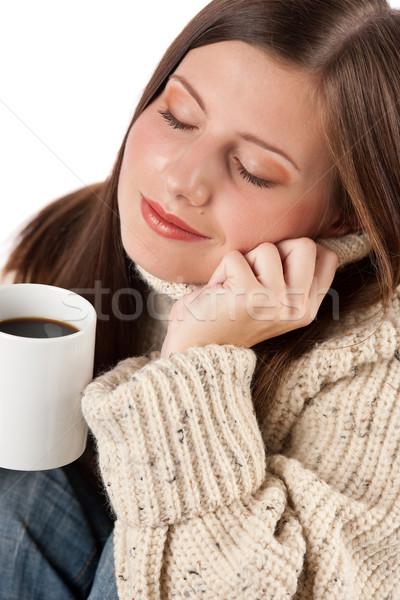 Invierno retrato feliz mujer taza Foto stock © CandyboxPhoto