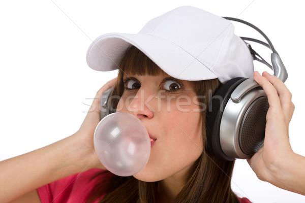 Szczęśliwy nastolatek Bańka guma słuchawki kobiet Zdjęcia stock © CandyboxPhoto