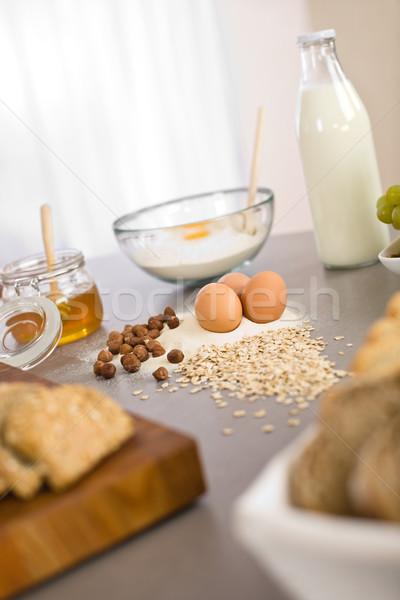 Baking dough ingredients, honey, eggs, flour  Stock photo © CandyboxPhoto