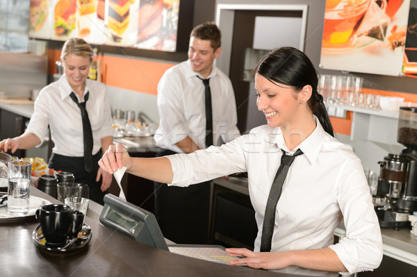 женщины кассир получение рабочих кафе коллеги Сток-фото © CandyboxPhoto