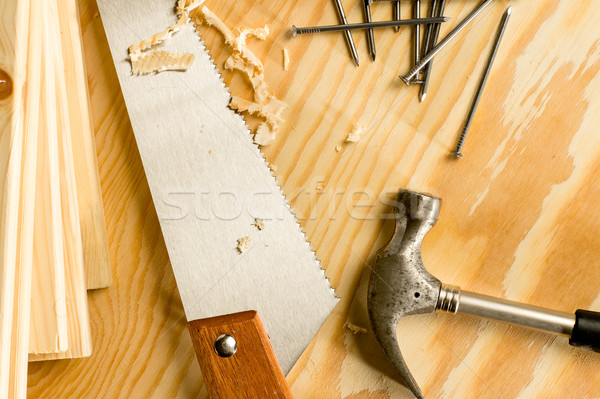Charpentier outils bois vu marteau clous Photo stock © CandyboxPhoto