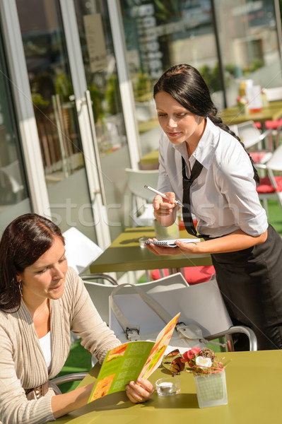 Waitress waiting for woman to order menu Stock photo © CandyboxPhoto