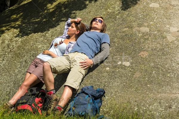 Kaukázusi pár élvezi napsütés kő pihen Stock fotó © CandyboxPhoto