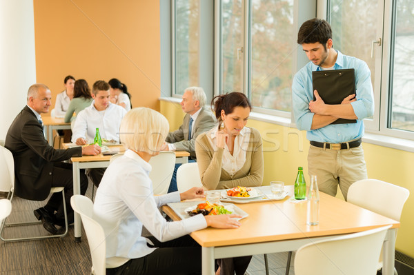 Lunch break office colleagues eat salad cafeteria Stock photo © CandyboxPhoto