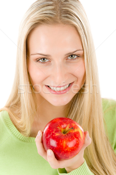 Photo stock: Femme · pomme · rouge · blanche · alimentaire