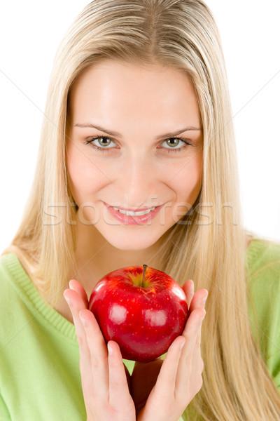 Foto d'archivio: Donna · mela · rossa · bianco · alimentare