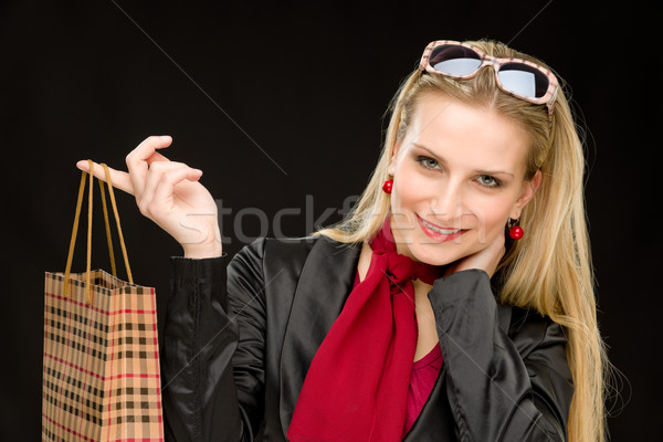 Shopping femme mode heureux sac portrait Photo stock © CandyboxPhoto