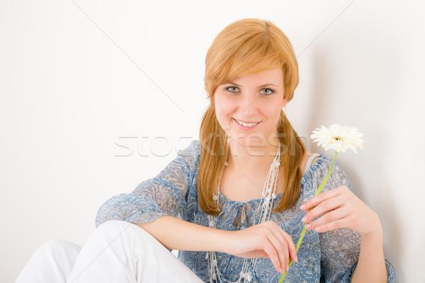 Foto stock: Romántica · mantener · Daisy · retrato · jóvenes