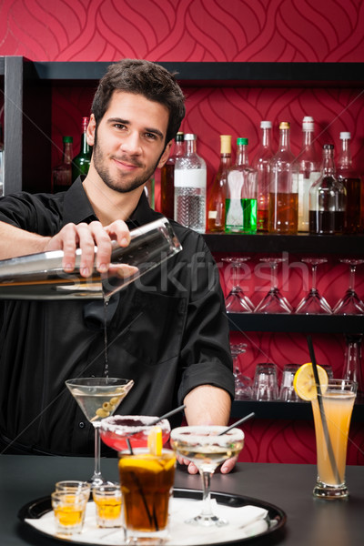 Jonge barman cocktail dranken knap Stockfoto © CandyboxPhoto