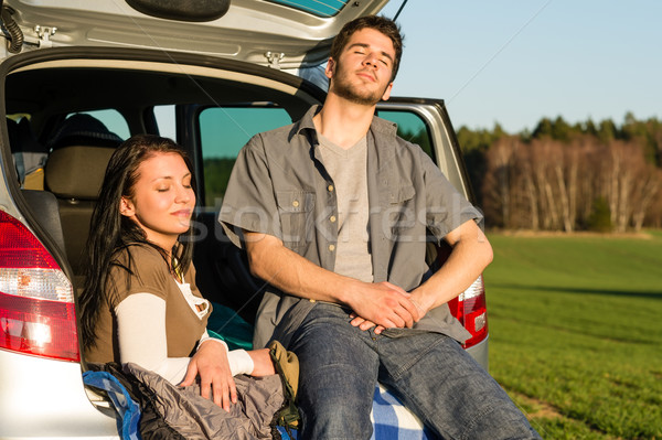Camping couple inside car enjoy summer sunset Stock photo © CandyboxPhoto