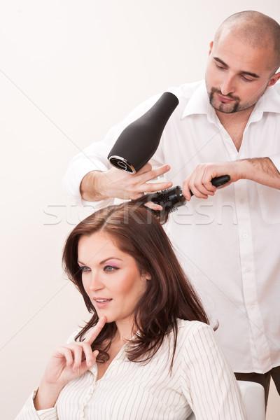 Profesional peluquero secadora de pelo salón cliente masculina Foto stock © CandyboxPhoto