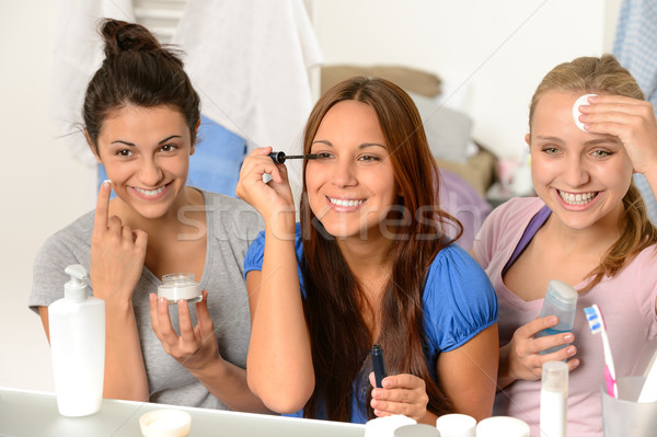 Three teenager girls getting ready in bathroom Stock photo © CandyboxPhoto