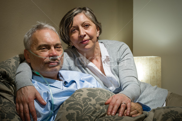 Mature couple wife supporting ill husband Stock photo © CandyboxPhoto