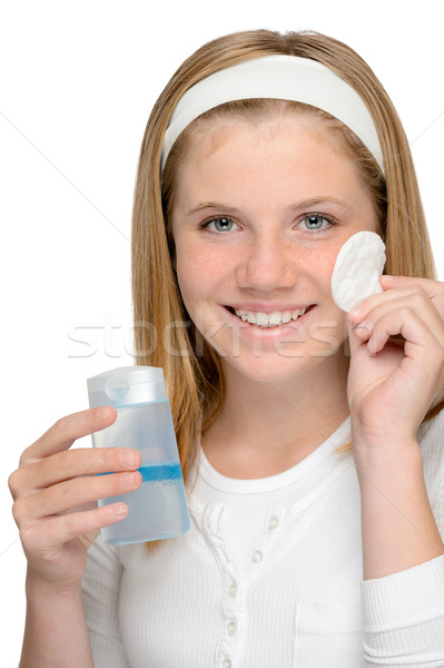 Cheerful smiling girl removing cleaning make-up face Stock photo © CandyboxPhoto