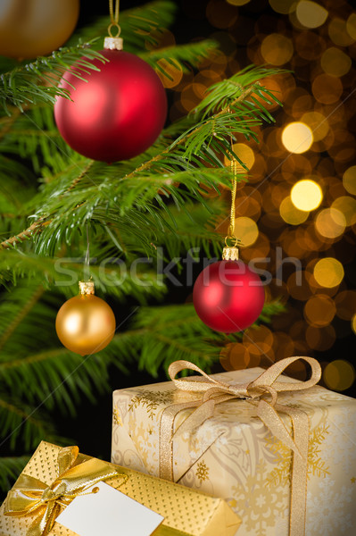 Christmas decoration tree, baubles and gifts Stock photo © CandyboxPhoto
