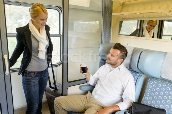 女性 列車 コンパートメント 男 笑みを浮かべて 旅行 ストックフォト © CandyboxPhoto