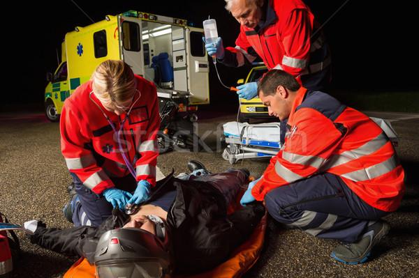 Notfall Team helfen verletzt Motorrad Fahrer Stock foto © CandyboxPhoto