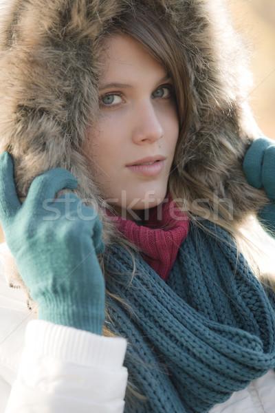 Tél divat nő szőr kesztyű kívül Stock fotó © CandyboxPhoto
