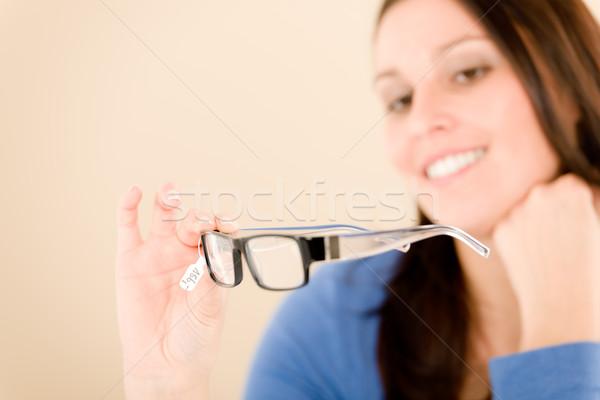 Foto stock: Oculista · cliente · escolher · prescrição · óculos · retrato