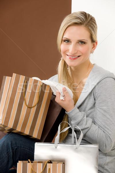 торговых женщину моде счастливым сумку портрет Сток-фото © CandyboxPhoto
