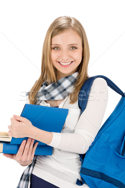 Student teenager woman with schoolbag hold books Stock photo © CandyboxPhoto