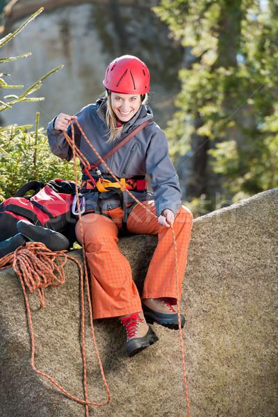 Aktif kadın kaya tırmanışı halat genç kadın Stok fotoğraf © CandyboxPhoto