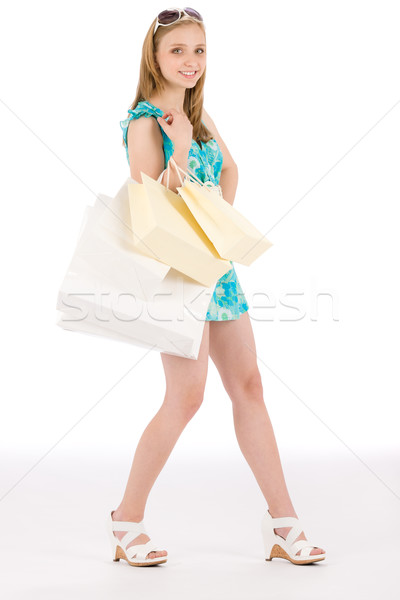 Shopping teenager happy woman in summer dress Stock photo © CandyboxPhoto