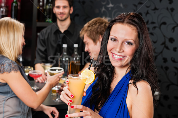 вечеринка девушки улыбаясь друзей Бар улыбающаяся женщина Сток-фото © CandyboxPhoto
