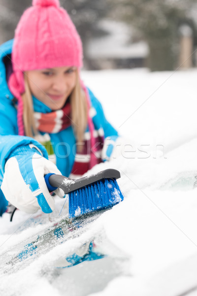 Woman wiping car windshield using brush snow Stock photo © CandyboxPhoto