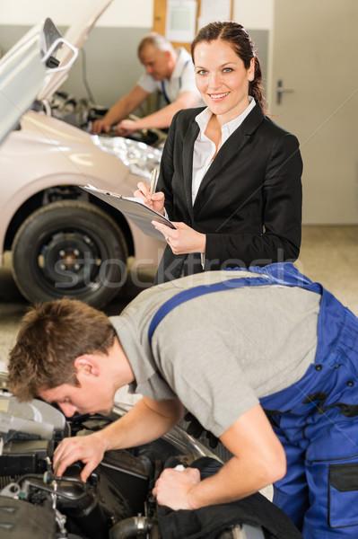 Foto d'archivio: Meccanica · manager · lavoro · riparazione · shop · femminile