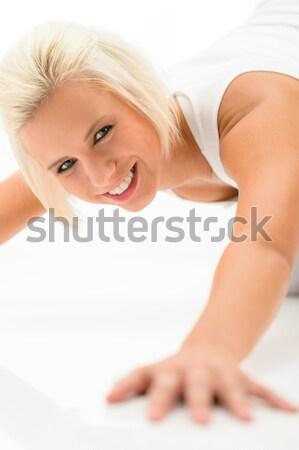 Woman doing push-ups exercises on white floor Stock photo © CandyboxPhoto